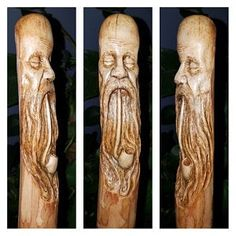 Wood Carving Wood Spirit Hand Carved by Josh Carte Wood Hand Carved Walking Sticks, Wooden Walking Sticks, Wood Carving Faces, Wood Carving Tools, Wooden Canes, Wood Gifts, Whimsical Art, Wood Sculpture, Wood Wall Art