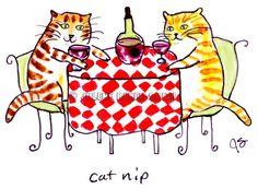 Cat Nip Wine sipping kitty cat art print by ArtByJulene on Etsy, $15.00