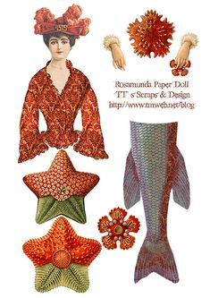vintage mermaid - Click through to website for more freebies Paper Puppets, Paper Toys, Vintage Paper Dolls, Vintage Crafts, Paper Art, Paper Crafts, Diy Paper, Frida Art, Paper Dolls Printable