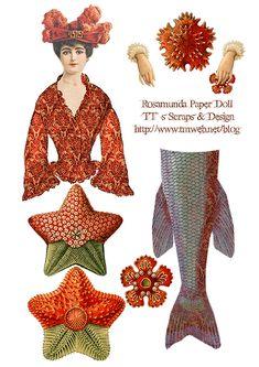 Rosamunda Mermaid,  Digital Collage Sheet  http://www.tmweb.net/blog/?p=630