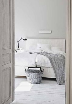 Pale palette of grey and white for the bedroom - lovely!