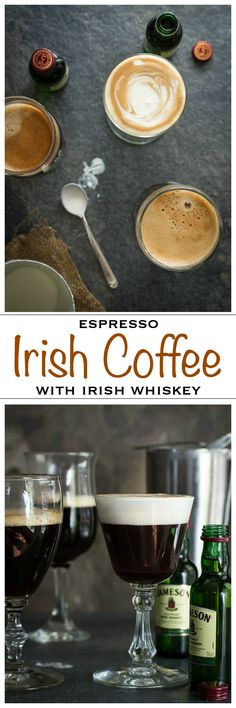 A traditional Irish Coffee made with pure espresso, brown sugar, Irish whiskey and cream | Foodness Gracious