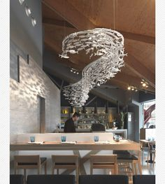 We created this custom made Shoal to grace the mastery of the Sushi chef in this Restaurant in Barcelona. Cafe Restaurant, Restaurant Design, Seafood Restaurant, Home Design, La Grande Motte, Fish Sculpture, Fish Design, Sushi Bar Design, Interior Decorating