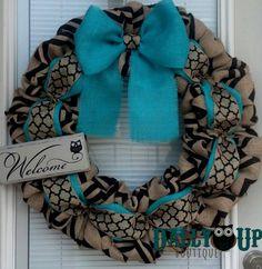 Burlap Wreath - Black and Natural Chevron - Aqua Wreath -  Home Decor -  Front Door Wreath  - All Year Wreath - Winter Wreath - Everyday Wre by DallyUpBoutique on Etsy https://www.etsy.com/listing/200706249/burlap-wreath-black-and-natural-chevron