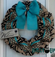 Burlap Wreath - Black and Natural Chevron - Aqua Wreath -  Home Decor -  Front Door Wreath  - All Year Wreath - Winter Wreath - Everyday Wre by DallyUpBoutique on Etsy https://www.etsy.com/listing/200706249/burlap-wreath-black-and-natural-chevron