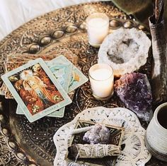 Crystals | remove negative energies with sage | tarot cards