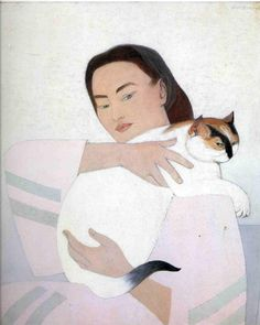 Young woman with white cat - Will Barnet, 1971