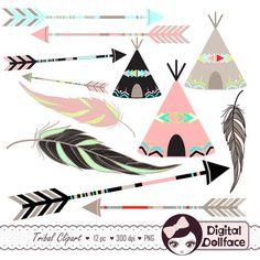 Tribal Arrow Clip Art Digital Feather Teepee by DigitalDollFace, $2.95