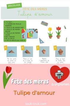Un bricolage facile à faire et à télécharger ! Toutes les mamans aiment les fleurs. Une activité Diy pour les maternelles et primaires.