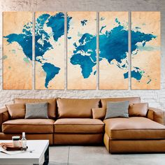 Abstract teal world map canvas print wall art 3 panel split watercolor map world extra large wall art photo framed canvas giclee prints hanging split panels home gumiabroncs Gallery