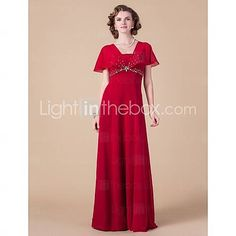 [USD $ 179.99]  Sheath/Column Square Floor-length Chiffon Mother of the Bride Dress