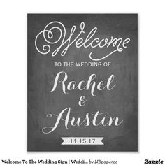 Welcome To The Wedding Sign   Wedding Decor Poster