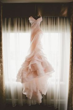 Always loved this idea - wedding dress photo shoot. Blush pink wedding gown by MXM Couture. The Wedding Scoop Spotlight: Coloured and Non-white Wedding Dresses Non White Wedding Dresses, Rose Gold Wedding Dress, Blush Pink Wedding Dress, Blush Bridal, Structured Wedding Dresses, Structured Gown, Wedding Robe, Tulle Wedding, Gold Dress