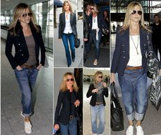 I love wearing jacket with jeans, it makes any jeans outfit more stylish. Jennifer Aniston is a proof of that :)