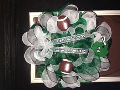 Football Wreath---Good for Easley Greenwave!