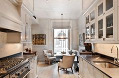 New York's Most Expensive Rental Apartment: Look Familiar? Galley kitchen at its finest. Love the soapstone and white.