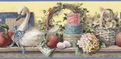 Floral Wallpaper Border - BC1580438 from Design by Color/Blue book