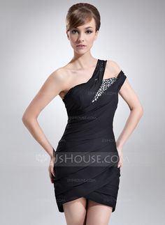 Cocktail Dresses - $125.49 - Sheath/Column One-Shoulder Asymmetrical Chiffon Cocktail Dress With Ruffle Beading (016008341) http://jjshouse.com/Sheath-Column-One-Shoulder-Asymmetrical-Chiffon-Cocktail-Dress-With-Ruffle-Beading-016008341-g8341