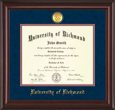 University of Richmond Diploma Frame-M Lacquer-w/Medallion-Navy/Red – Professional Framing Company