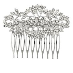 Lux Accessories Silvertone and Rhinestone Bridal Bride Flower Vines Hair Comb ** Additional details at the pin image, click it  : Hair Tools
