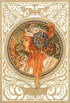 Borduurpatroon Kruissteek Mucha *Embroidery Cross Stitch Pattern ~Byzantine Heads: BLONDE (1897) 1/18~