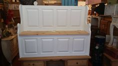 Lovely solid pine monks bench /storage pew rustic farmhouse style in F & B paint