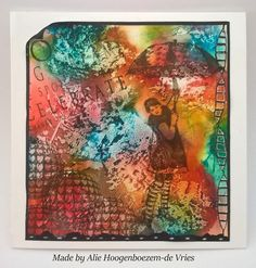 Stamped card with Art Journey stamps, Alcohol Inks and plastic wrap, made by Alie Hoogenboezem-de Vries
