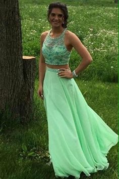 Green Chiffon Beaded Two Pieces Backless A-line Prom Dresses Evening Dresses Two Piece, Prom Dresses, Green Prom Dress, Evening Dresses Chiffon, Cheap Evening Dresses Prom Dresses 2020 Homecoming Dresses Long, Prom Dresses For Teens, A Line Prom Dresses, Formal Dresses For Women, Prom Party Dresses, Dress Prom, Prom Gowns, Dress Long, Summer Dresses