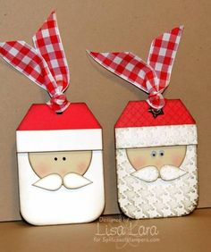 Cute Santa tags, love the one on the right... this could easily be adapted into a card without the ribbon on Santa's hat. (I don't have permission to view this at SCS)