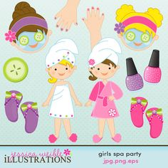 Girls Spa Party comes with 11 clipart graphics including: little girl wrapped in a towel, little girl wrapped in a robe, blonde facial, brunette facial, a cucumber slice, 2 little girl hands with painted fingernails, 2 fingernail polish bottles, and 2 pairs of flip flops