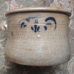 Antique Stoneware: ca.1840 1.5Gal. Cake Crock, L.W. FENTON, ST. JOHNSBURY, VT