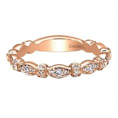 0.29 ct F-G SI Diamond Stackable Ladie's Ring In 14K Rose Gold LR4579K44JJ