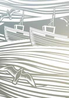 The star design of our popular Day-tripper collection, Whitby is named after the North Yorkshire port where Mark and Keith of Mini Moderns spent. Linolium, Lino Art, Sand Glass, Cut Canvas, Window Films, North Yorkshire, Star Designs, Paper Cutting, Ocean