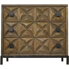 This intricately hand-carved reclaimed fir and metal sideboard has three generous drawers for ample storage. To let the carvings shine, the rest of the design is kept simple, and the wood is finished minimally in a soft natural. Three Drawer Dresser, Wood Dresser, Wood Drawers, Dresser Drawers, Chest Of Drawers, Dressers, Chest Dresser, Large Furniture, Unique Furniture