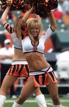 Laura Vikmanis, Cincinnati Bengals cheeleader.  She is 42 and a single mother.  Yes, I am impressed!