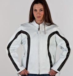 Ladies Jacket w/ Z/O Lining, Black Stripes. Also comes in White/Pink stripes and Black/White stripes