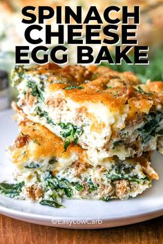 This easy egg bake is made with spinach, cheese, bacon, and other fresh vegetables! This dish is versatile and budget-friendly. Customize it with whatever ingredients you have on hand! Breakfast Egg Bake, Breakfast Dishes, Breakfast Casserole, Breakfast Recipes, Breakfast Options, Healthy Breakfast With Eggs, Breakfast Ideas With Eggs, Spinach And Eggs Breakfast, Breakfast Toast