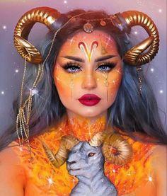 zodiac makeup looks - aries Indian Makeup Looks, Dark Makeup Looks, Glitter Makeup Looks, Makeup Looks For Green Eyes, Simple Makeup Looks, Creative Makeup Looks, Halloween Makeup Looks, Silver Makeup, Unique Makeup