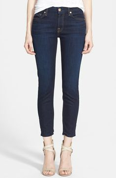 7 For All Mankind® 'Kimmie' Crop Skinny Jeans (Classic Dark Blue) available at #Nordstrom