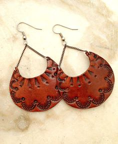 Hand Tooled Leather Earrings by TILTadornments on Etsy Leather Carving, Leather Art, Leather Gifts, Leather Design, Leather Tooling, Leather Jewelry, Leather And Lace, Tooled Leather, Custom Leather