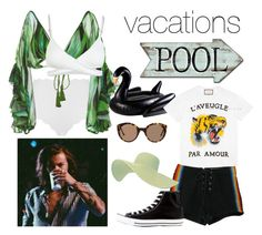 """Vacations, 2017."" by nerdyhesc ❤ liked on Polyvore featuring Marysia Swim, Água de Coco, L*Space, Zimmermann, Gucci, Retrò, Converse and Illesteva"