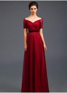 Burgundy half sleeve long dress,formal dress