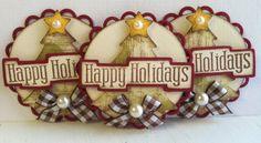 Sweet Christmas Tree Embellishments  Happy by KindrasCreations, $3.69