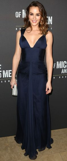 Leighton Meester in Versace at the Broadway opening night of Of Mice and Men.