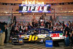 April 14, 2012: Greg Biffle, driver of the #16 Filtrete Ford, celebrates with the trophy in Victory Lane after winning the NASCAR Sprint Cup Series Samsung Mobile 500.