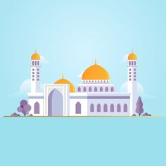 Islamic Mosque Building Flat Vector Illustration Vector and PNG Building Illustration, Landscape Illustration, Flat Illustration, City Vector, Map Vector, Mosque Vector, Cartoon Building, Vector Game, Architecture Background