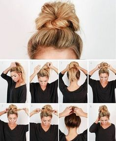 Check out our collection of easy hairstyles step by step diy. You will get hairs. Check out our collection of easy hairstyles step by step diy. You will get hairstyles step by step tutorials, easy hairstyles quick lazy girl hair hac. Easy Work Hairstyles, Trendy Hairstyles, Beautiful Hairstyles, Nurse Hairstyles, Cute Bun Hairstyles, Simple Hairstyles For School, Hair Ideas For School, Lazy Girl Hairstyles, Easy Everyday Hairstyles