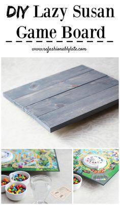 Make your own DIY Lazy Susan Game board for $10! www.refashionablylate.com #GameNightIn #ad