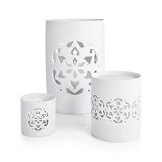 Snowflake Porcelain Hurricanes | Crate and Barrel