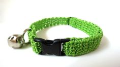Adjustable Cat Collar Lime with Bell by BrumbysYarns on Etsy, $10.00